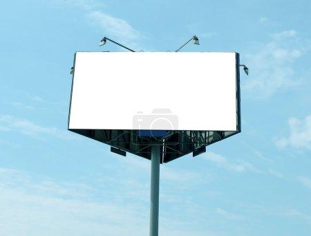 Blue sly and triangular big blank billboard outdoor