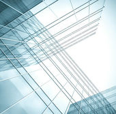 Transparent curved wall of business center