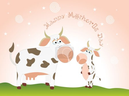 Illustration for Beautiful animal concept wallpaper for mother's day celebration - Royalty Free Image