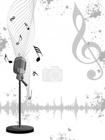 Grungy musical notes background with isolated mike