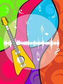 Colorful artwork musical notes background with guitar