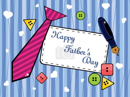Illustration for Background with colorful button, tie and pen concept for father's day - Royalty Free Image