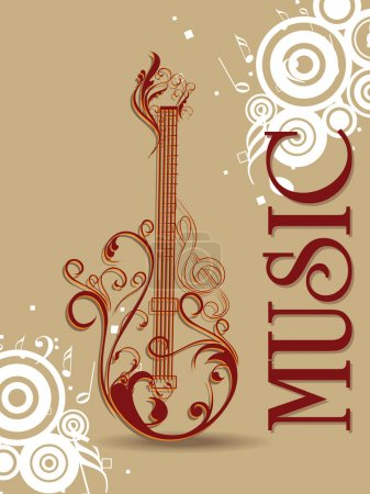 Abstract design background with isolated guitar