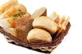 Různé chleba na bílém pozadí pozadí