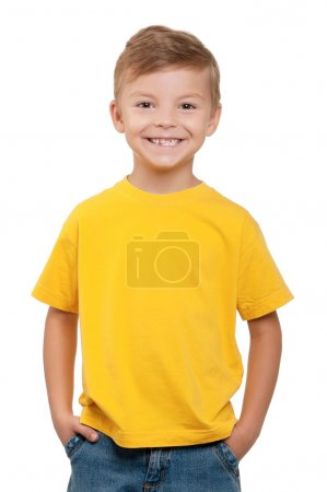 Portrait of happy little boy over white background...