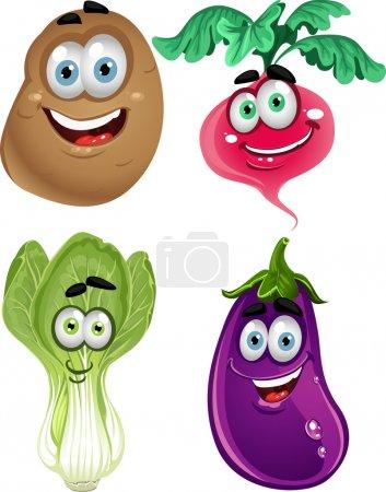 Illustration pour Légumes mignon drôle de bande dessinée - laitue, radis, aubergines, pommes de terre - image libre de droit