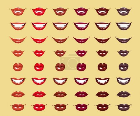 Illustration for Glamorous glossy shining female lips in red colors - Royalty Free Image