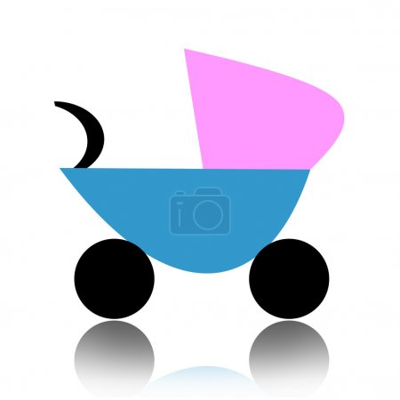 Photo for Abstract baby carriage isolated over white background - Royalty Free Image