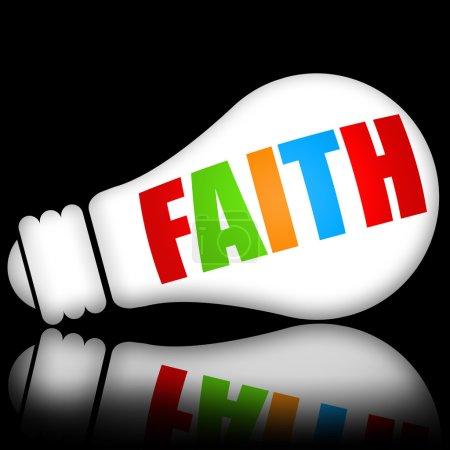 Photo pour Concept de la foi avec des lampes électriques lumineux sur fond noir foncé - image libre de droit