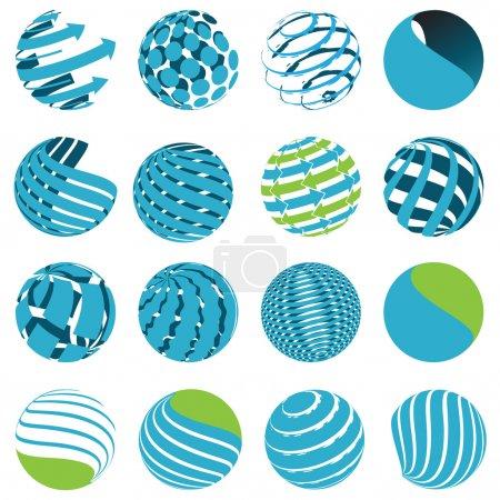 Illustration for Illustration, sixteen blue symbols of the planet on white background - Royalty Free Image
