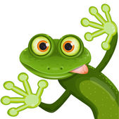 Illustration merry green frog with greater eye