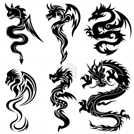 Illustration for Set of the Chinese dragons, tribal tattoo - Royalty Free Image