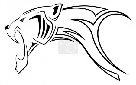 Illustration for Vector leopard executed in the form of a tribal tattoo - Royalty Free Image