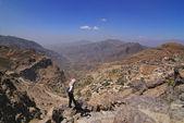 Tourist in mountain Yemen