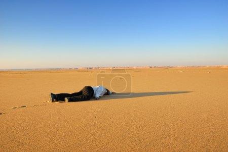 Human body in the desert