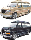 Detailed vectorial image of modern american van executed in two variants of colors Every van is in separate layer No blends and gradients