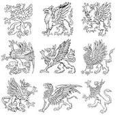 Vectorial pictograms of most heraldic monsters - gryphons executed in style of gravure on wood No dlends gradients and strokes