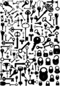 Collection of antique and modern keys and padlocks vector illustration