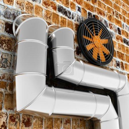 Photo pour Tuyaux métalliques et ventilation sur le mur de brique - image libre de droit