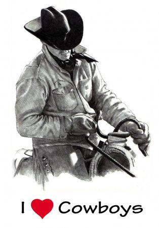 I Love (Heart) Cowboys: Pencil Drawing
