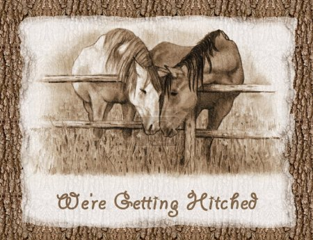 We're Getting Hitched: Western Wedding Invitation: Horses