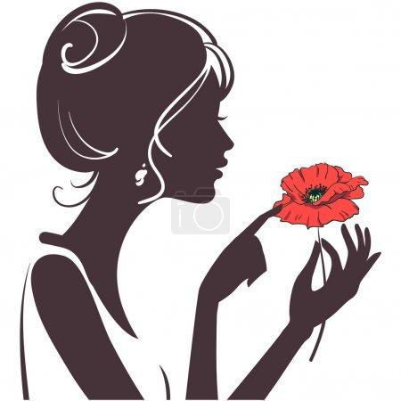 Illustration pour Silhouette fille beauté avec le coquelicot rouge - image libre de droit