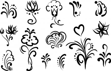 Floral elements for design, set