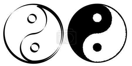 Illustration pour Ying yang symbole d'harmonie et d'équilibre, illustration vectorielle - image libre de droit