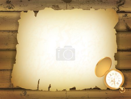 Old paper at wooden background