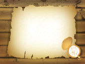 Vintage pocket watch and old paper at wooden background