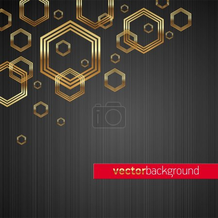 Illustration for Abstract vector dark metal texture background with golden shiny & luxury hexagon shapes - Royalty Free Image
