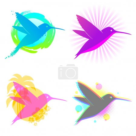 Hummingbird vector emblems