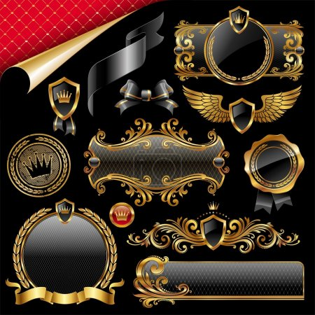 Illustration for Set of royal gold and black design elements - Royalty Free Image