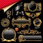 Set of royal gold and black design elements...