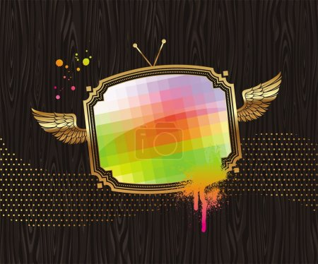 TV screen in golden winged frame