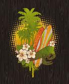 Vintage tropical surfing emblem