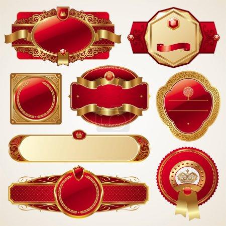 Set of luxury ornate framed labels