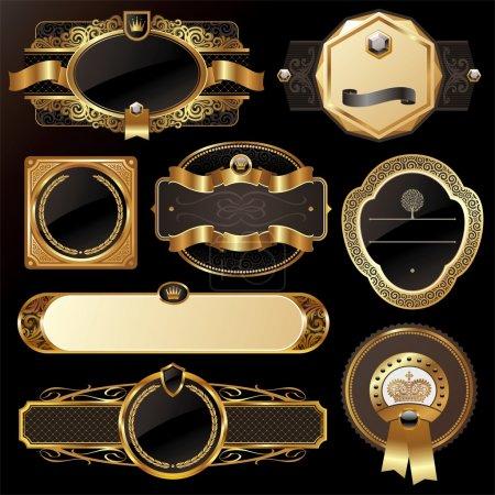Foto de Vector conjunto de lujo oro adornado etiquetas enmarcado - Imagen libre de derechos