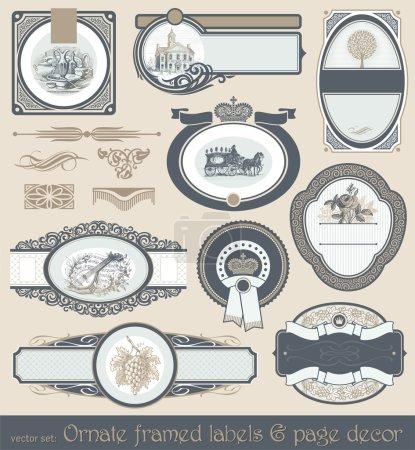 Illustration for Vector set of vintage framed labels and page decor - Royalty Free Image