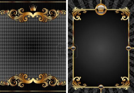 Illustration pour Ensemble vectoriel d'or & fond décoratif de luxe noir - image libre de droit