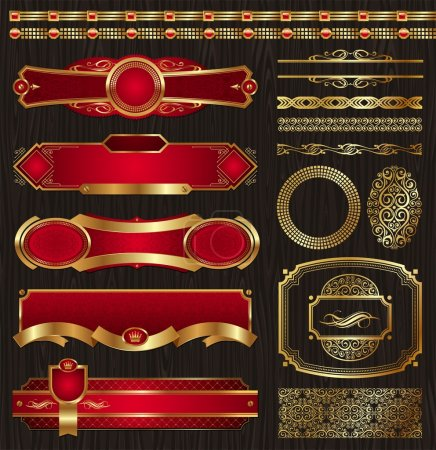 Set of framed golden labels & patterns