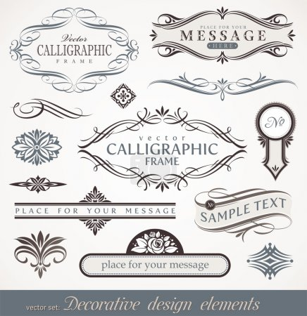 Vector decorative calligraphic design elements & p...