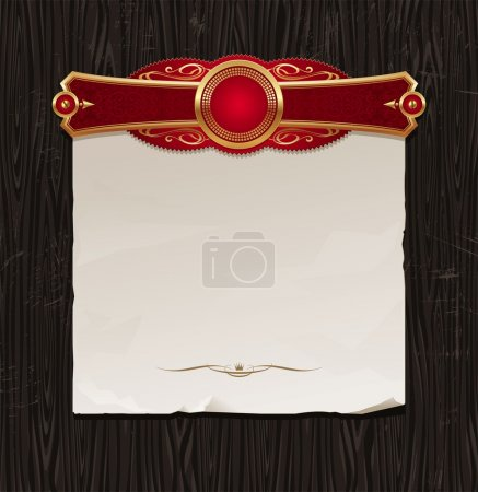 Vector vintage golden frame with paper banner on a black wood backgraund