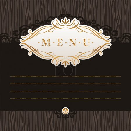 Vector menu with calligraphic frame on wooden texture