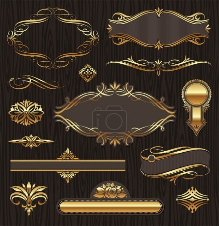 Illustration for Vector set of golden ornate page decor elements: banners, frames, deviders, ornaments and patterns on dark wood background - Royalty Free Image
