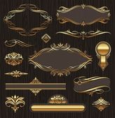 Vector set of golden ornate page decor elements: banners frames deviders ornaments and patterns on dark wood background