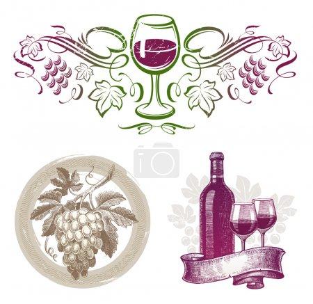 Illustration pour Ensemble vectoriel - emblèmes et étiquettes de vinification dans différents styles - image libre de droit