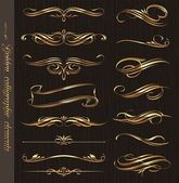 Golden calligraphic vector design elements on a black wood texture background