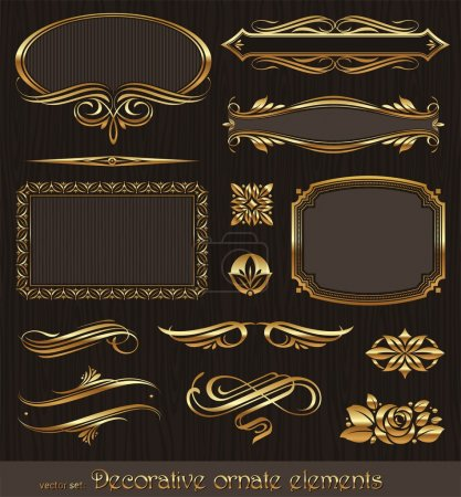 Illustration for Golden decorative vector design elements & page decor - Royalty Free Image