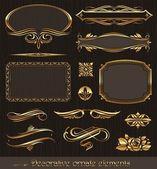 Zlatá dekorativní vektorové prvky  stránky dekor